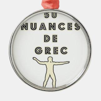Ornement Rond Argenté 50 NUANCES DE GREC - Jeux de Mots - Francois Ville