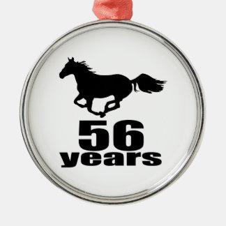 Ornement Rond Argenté 56 ans de conceptions d'anniversaire
