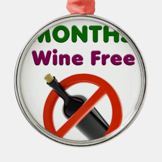 Ornement Rond Argenté 9 mois de vin libèrent, femme enceinte, bébé de