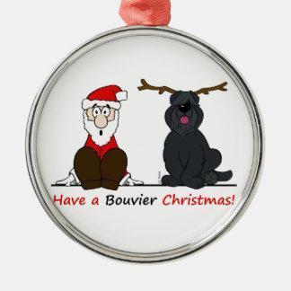 Ornement Rond Argenté A Bouvier Christmas