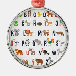 Ornement Rond Argenté ABCs animal - alphabet