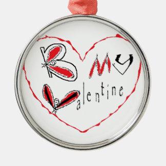 Ornement Rond Argenté Abeille mon valentine