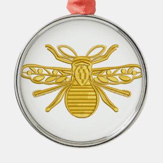 Ornement Rond Argenté abeille royale, imitation de broderie