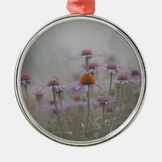 Ornement Rond Argenté Abeilles et les fleurs de cône
