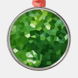 Ornement Rond Argenté Abrégé sur vert mosaïque en verre souillé de forme