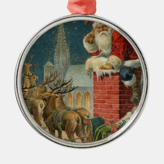 Ornement Rond Argenté Affiche 1906 clous de Père Noël de cru original