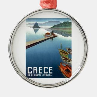 Ornement Rond Argenté Affiche 1949 de voyage de Corfou Grèce