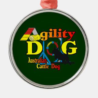 Ornement Rond Argenté Agilité australienne de chien de bétail