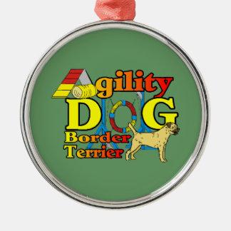Ornement Rond Argenté Agilité de Terrier de frontière