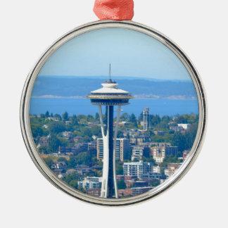 Ornement Rond Argenté Aiguille de l'espace d'horizon de Seattle