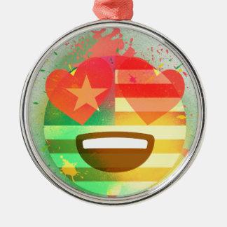 Ornement Rond Argenté Aimez l'art de peinture de jet d'Emoji de drapeau