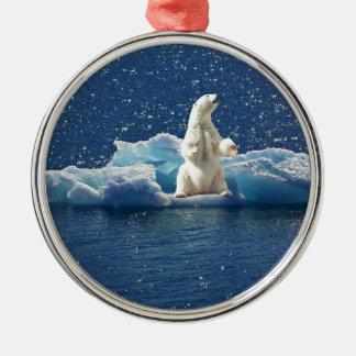 Ornement Rond Argenté Ajoutez le SLOGAN pour sauver la glace arctique de