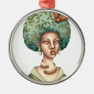 Ornement Rond Argenté Allez avec pour - Madame avec l'art unique d'Afro