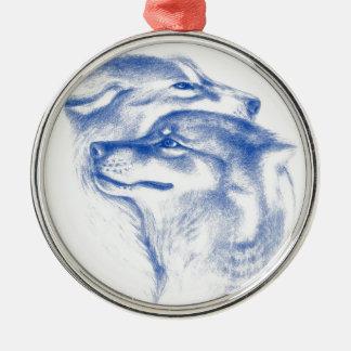 Ornement Rond Argenté Alpha art d'amour de loups