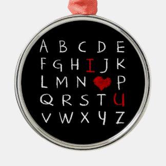Ornement Rond Argenté Alphabet d'amour