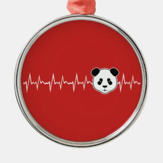 Ornement Rond Argenté Amant de panda