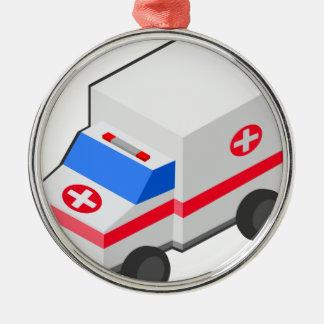 Ornement Rond Argenté Ambulance