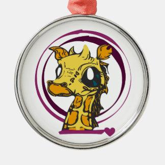 Ornement Rond Argenté Amour de girafe