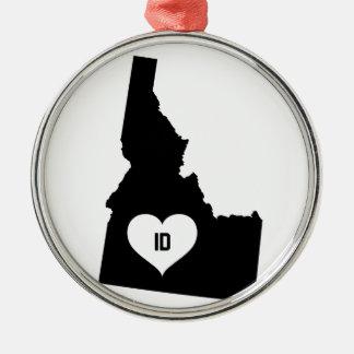 Ornement Rond Argenté Amour de l'Idaho