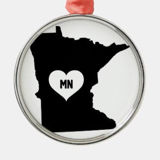 Ornement Rond Argenté Amour du Minnesota