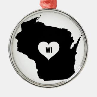Ornement Rond Argenté Amour du Wisconsin