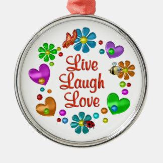 Ornement Rond Argenté Amour vivant de rire d'amusement