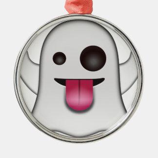 Ornement Rond Argenté Amusement frais d'Emoji de fantôme effrayant
