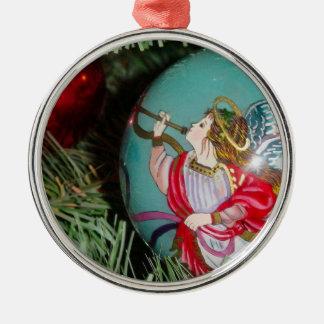 Ornement Rond Argenté Ange de Noël - art de Noël - décorations d'ange