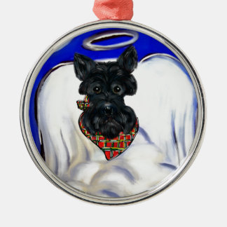 Ornement Rond Argenté Ange noir de Terrier d'écossais