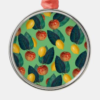 Ornement Rond Argenté aples et vert de citrons