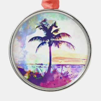Ornement Rond Argenté Aquarelle abstraite - coucher du soleil I de plage