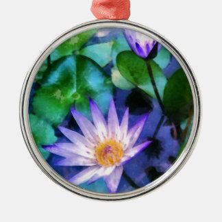 Ornement Rond Argenté Aquarelle pourpre de Lotus