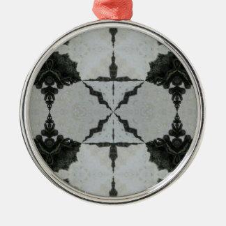 Ornement Rond Argenté Araignée, noir et gris de loup de kaléidoscope
