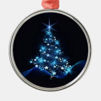 Ornement Rond Argenté arbre de Noël allumant le bleu