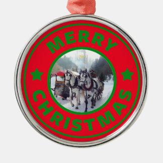 Ornement Rond Argenté Arbre de Noël de traîneau de cheval