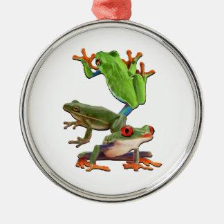 Ornement Rond Argenté Arbre Frogger