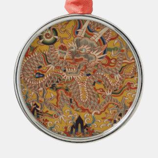 Ornement Rond Argenté Art chinois asiatique impérial de dragon de Ming