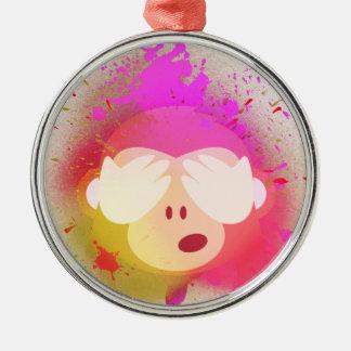 Ornement Rond Argenté Art créatif superbe de peinture de jet d'Emoji de