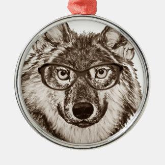Ornement Rond Argenté Art de ballot de loup