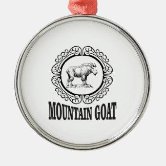 Ornement Rond Argenté art de chèvre de montagne