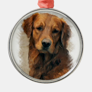 Ornement Rond Argenté Art de golden retriever
