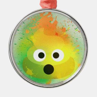 Ornement Rond Argenté Art de peinture de jet de jaune de dunette d'Emoji