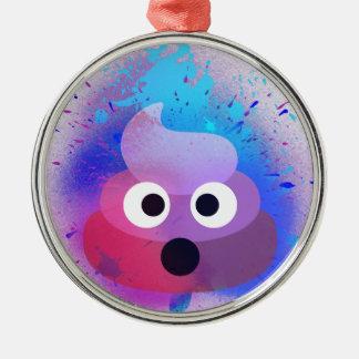 Ornement Rond Argenté Art de peinture de jet d'Emoji de dunette
