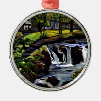Ornement Rond Argenté Art de rivière