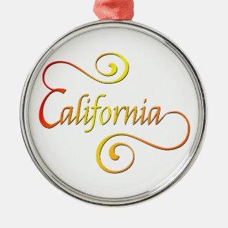 Ornement Rond Argenté Art de typographie de la Californie
