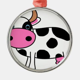 Ornement Rond Argenté art de vache