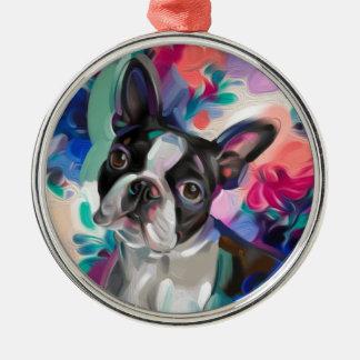 Ornement Rond Argenté Art floral de chien de l'ornement | de Noël de