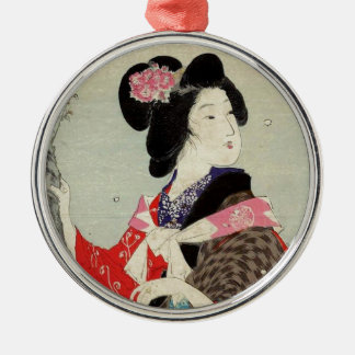 Ornement Rond Argenté Art japonais de Madame Suzuki Kason Sakura Japon