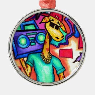 Ornement Rond Argenté Artiste de graffiti de girafe
