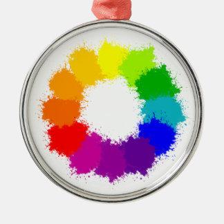 Ornement Rond Argenté Artiste de roue de couleur et professeur d'art